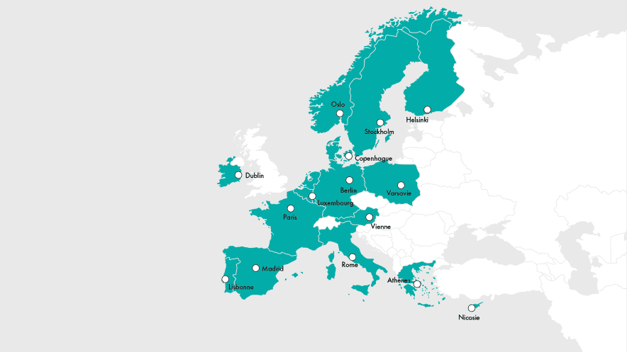 Carte des implantations de CNP Assurances en Europe