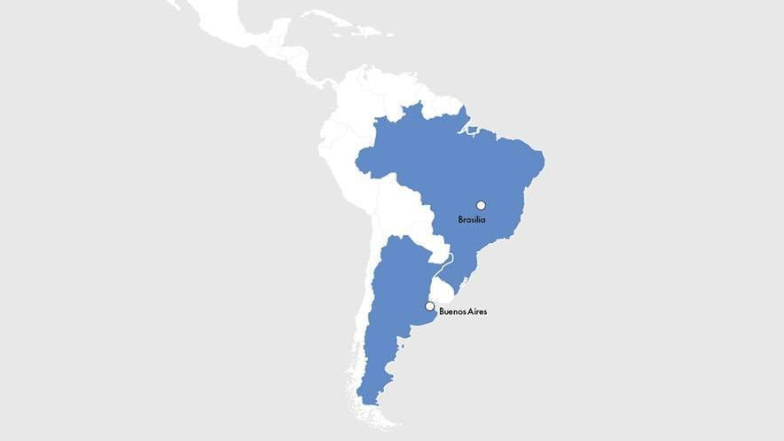 Map of CNP Assurances locations in Latin America